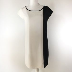 Express mod colorblock black white shift dress S